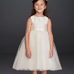 David's Bridal Satin and Tulle Flower Girl Dress